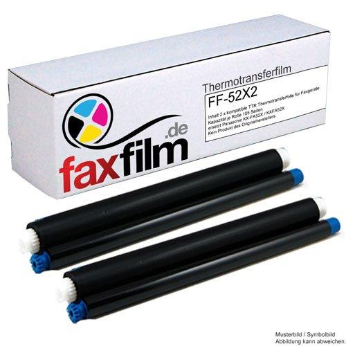 FAXFILM 2x kompatibler Ink-Film ersetzt Panasonic KX-FA52X / KXFA52X, Kapazität je 105 Seiten, schwarz