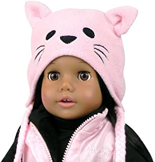 18 Inch Doll Hat w/Cat Face, Animal Hat Fits 18 Inch American Girl Dolls & More! Doll Clothing Pink Fleece Kitty Cat Doll Animal Hat