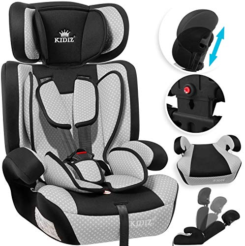 KIDIZ® Autokindersitz Kindersitz Kinderautositz | Autositz Sitzschale | 9 kg - 36 kg 1-12 Jahre | Gruppe 1/2 / 3 | universal | zugelassen nach ECE R44/04 | 6 verschiedenen Farben | Grau