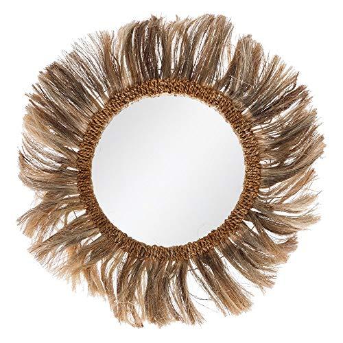 Espejo Redondo Trenzado exótico, marrón de Fibras Naturales, de Ø 90 cm - LOLAhome