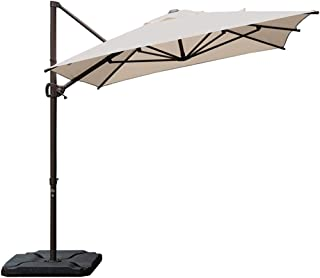 Abba Patio Offset Cantilever Umbrella 9 by 7-Feet Rectangular Patio Hanging Umbrella with Cross Base, Sand