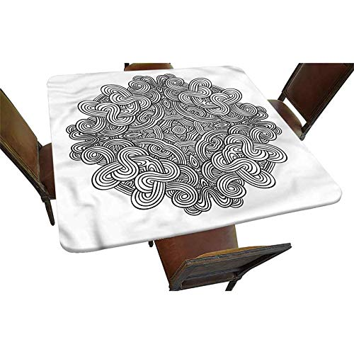 Decorative Elastic Edged Square Fitted Tablecloth,Ancient Celtic Knot Polyester Indoor Outdoor Fitted Tablecover for Folding Table Picnic Birthday Camping Garden Banquet Fit Square Table up to 36'
