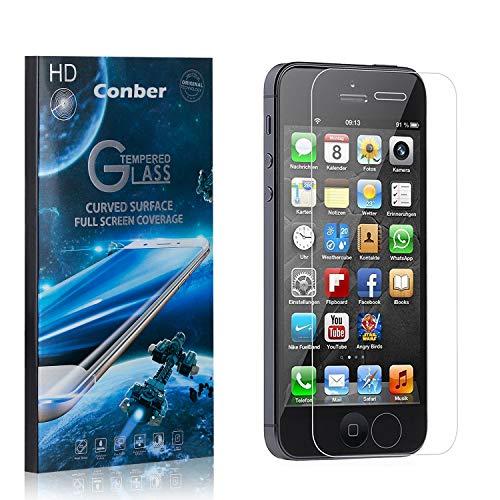 [1 Stück] Conber Panzerglas Schutzfolie für iPhone SE/iPhone 5 / iPhone 5S, [9H Härte][Anti-Kratzen][Anti-Öl][Anti-Bläschen] Panzerglasfolie Displayschutz für iPhone SE/iPhone 5 / iPhone 5S