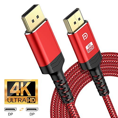 ALCLAP Cable DisplayPort 2m-Cable DP a DP 4K Nylon Trenzado [4K@60Hz, 2K@144Hz, 2K@165Hz]-Cable DisplayPort a DisplayPort Alta Velocidad Compatible con Laptop/TV/PC ASUS/DELL/Monitor de Juego