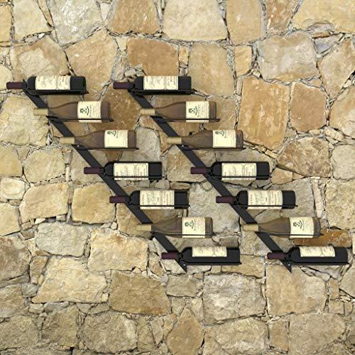 Lechnical Portabottiglie Moderno e Pratico, 2 Pezzi, Portabottiglie Vino da Parete Nero Set 2 Pezzi 88 x 8 x 72 cm (L x P x A)