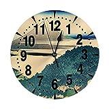 掛け時計 青山円座松 大文字 連続秒針 静音 壁掛け時計 置き時計 直径25cm