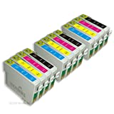 12 Cartouches d'encre Compatibles pour Imprimante Epson Stylus SX400 - Cyan / Magenta / Jaune / Noir- Avec Puce