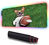 RGB Soft Gaming Mouse Pad Large, Sports, Dog Holding a Rugby Ball, LED Soft Extra Extended Large Mouse Pad, Anti-Slip Rubber Base, Computer Keyboard Mouse Mat 600x350x30mm