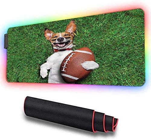 RGB Soft Gaming Mauspad groß, Sport, Hund mit Rugbyball, LED Soft Extra Extended Large Mauspad, rutschfeste Gummibasis, Computertastatur Mausmatte 600x350x30mm