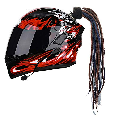 D&F Cola de Caballo con Ventosa para Casco de Motocicleta Bicicleta Casco Trenzas Pelucas Decoración Ventosa 1Pcs 24 Pulgadas,A