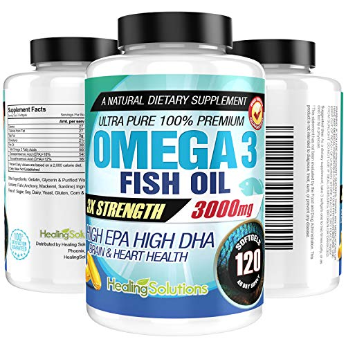 Ultra Pure Omega 3 Fish Oil (Triple Strength - 3000mg Per Serving) 120 Softgels High EPA and DHA Fatty Acids Supplement 3 x 1000 mg - 120 Pills