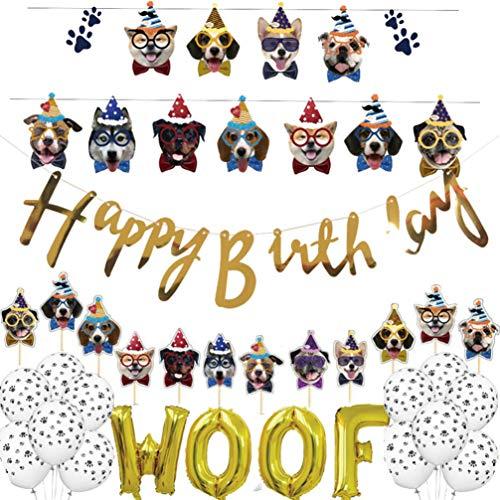 Amosfun Perro Feliz cumpleaños Banner Cachorro Perro cumpleaños Guirnalda Perro Tema Fiesta Bunting decoración