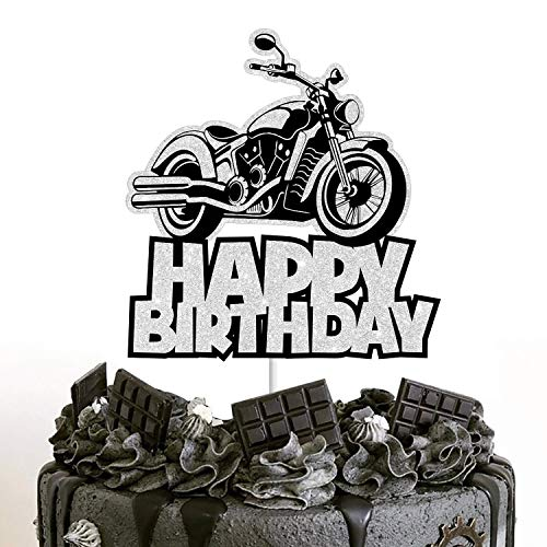 Motorcycle Cake Topper Happy Birthday Silver Flash Decoration boy girl party Decora Supplies