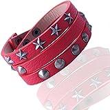 Gemini Armband (rot), Wickelarmband mit Nieten, hochwertiges Leder, Druckknopf Verschluss, Street Style für Boys, Girls, Herren, Damen, Unisex, 15,4 - 25,4 cm (Länge)