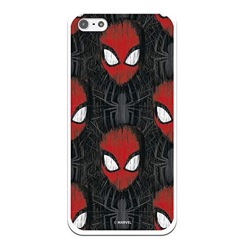 Funda para iPhone 5-5S - SE Oficial de Marvel Spiderman Caras Fondo Negro para Proteger tu móvil. Carcasa para Apple de Silicona Flexible con Licencia Oficial de Marvel.