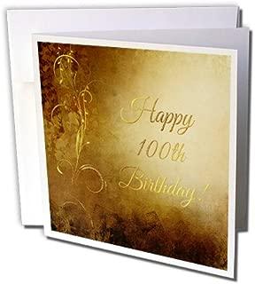 3dRose 100Th Birthday, Elegant Gold Vine On Gold Background - Greeting Card, 6