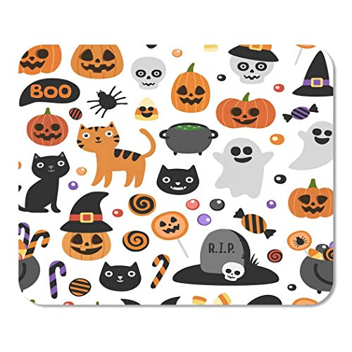 Mousepad Notizblock Büro Nettes lächelndes Halloween und lustige Zeichentrickfilm-Figuren-Kürbis-Geist-Ostkatzen-Schläger-Süßigkeits-Zuhause-Schule