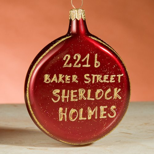 Sherlock Holmes 221b Baker Street Door Sign Exclusive Limited Edition De Carlini Italian Glass Christmas Ornament