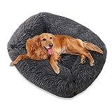 TOKINCEN Plush Dog Bed, Warm Fluffy Calming Donut Cuddler Washable Pet Bed Super Soft and Fluffy Puppy Cushion Mat for Cat Dog Warm Sleeping (L, Dark Grey)