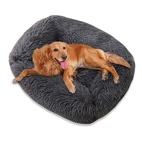 TOKINCEN Cama de felpa para perro, cálida y esponjosa Donut Cuddler lavable para mascotas Cama súper suave y esponjosa para cachorros de gato y perro para dormir caliente (M, gris oscuro)