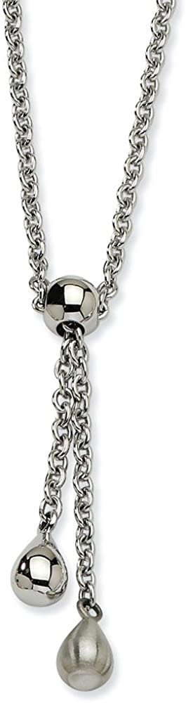 Stainless Steel Brushed & Polished Teardrop 20in Y Necklace