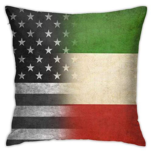 Hangdachang - Funda de almohada personalizada, diseño de bandera italiana, diseño de bandera italiana, para coche, sofá, hogar, 45 x 45 cm