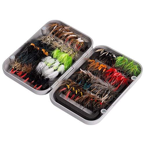 BASSDASH Juego de 64 anzuelos de pesca con mosca, incluye moscas secas, moscas húmedas, ninfas, serpentinas, terrestres, sanguijuelas y más, con caja magnética para moscas