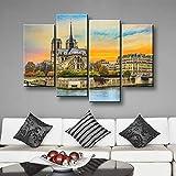KOPASD Bilder Wandbild 160x100cm Leinwandbild Notre Dame De