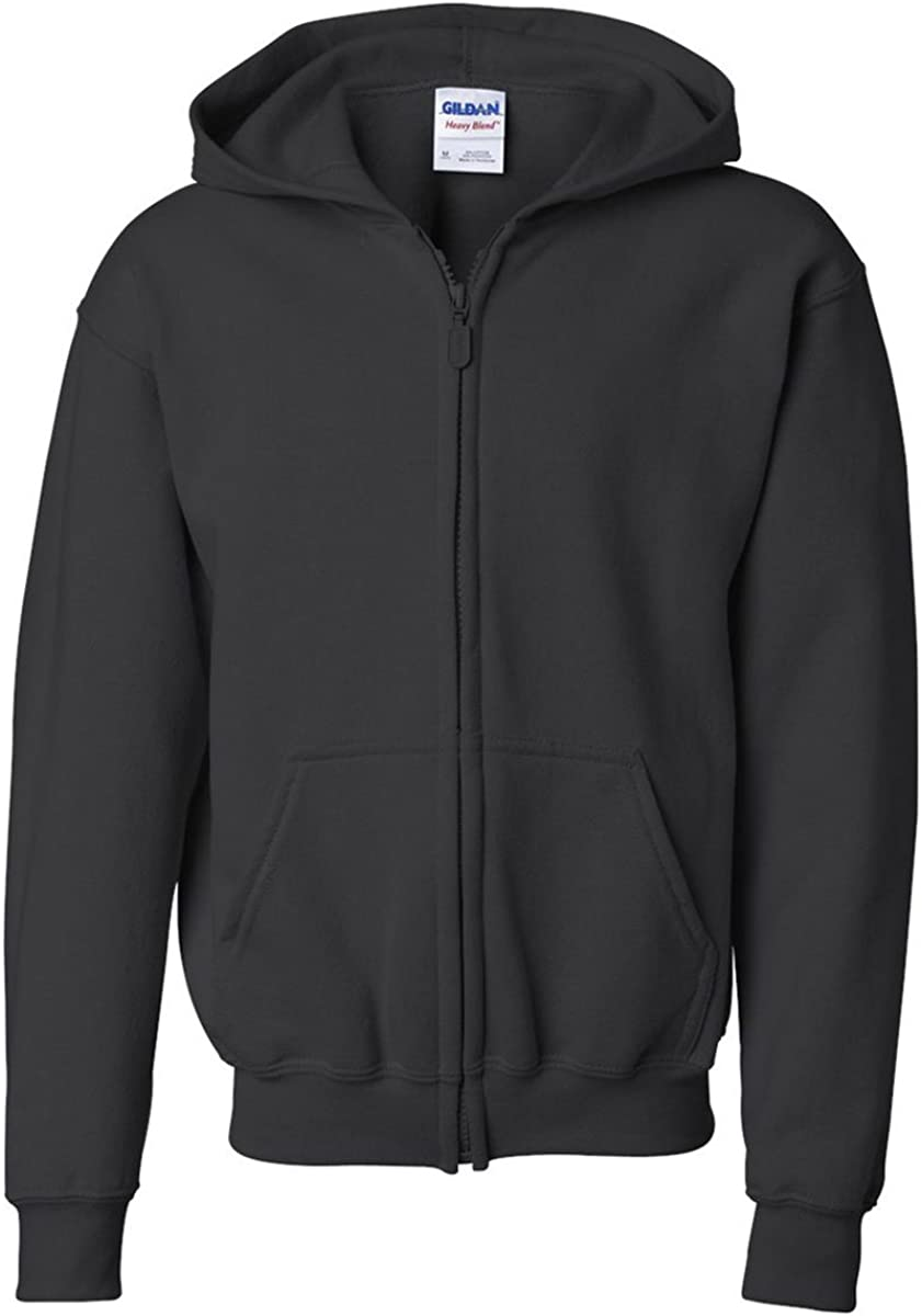 Gildan boys Heavy Blend Full-Zip Hooded Sweatshirt(G186B)-BLACK-M