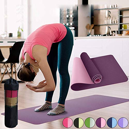 Best Buy! Thin Yoga Mat Non Slip Set - 6MM 18361CM High Density TPE Foam Exercise Mat with Mesh Bag ...