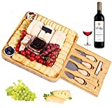 InnoStrive Cheese Board 100% Organic Bamboo Charcuterie Board 13 x 13 x 2 Inch Cheese Platter With Cutlery In Single Slide-Out Drawer For Wine, Cheese, Meat
