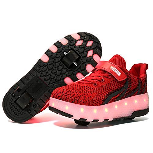 YSTHEZ Zapatillas de deporte ligeras con dos ruedas para niños y niñas con patines de ruedas para niños y niñas, color rojo, 35 EU