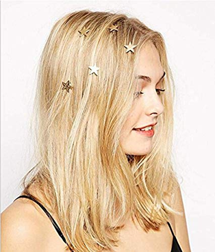 Yean Star Hair Clips Gold Hair Pins 5 Packs Make Up Headpieces for Women and Girls (Gold)