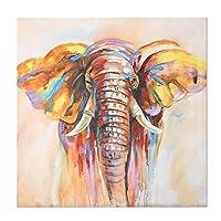 """キャンバス画像抽象的な色の象のポスターとプリントアートワーク壁アートリビングルーム寝室の家の装飾27.5""""x27.5""""(70x70cm)フレームレス"""