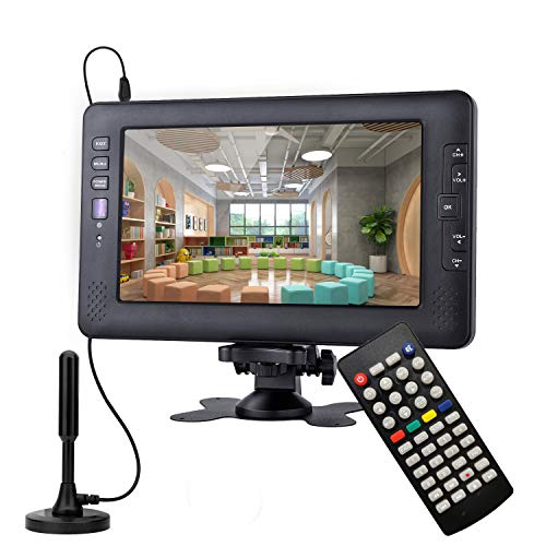 9Inch Portable TV for ATSC Digital TV Viewing in The US,Canada,Mexico,USB/AV in Player,Support for 720P Video Player Black