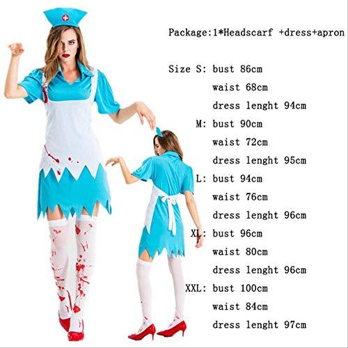 CHNWSJ Halloween Kostüme Cosplay Weibliche Zombie Kleidung Womens Party-Kleid Horror Blutige Nonne Krankenschwester Maid Zombie Kostüm M Blau