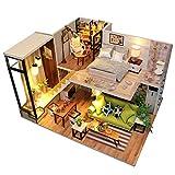 XIANLIAN Sala De Casa De Muñecas DIY con Luz LED, Casa De Muñecas De Madera 3D, Kit De Miniatura De Casa De Muñecas De Madera DIY, Casa En Miniatura Nórdica Romántica Innovadora DIY
