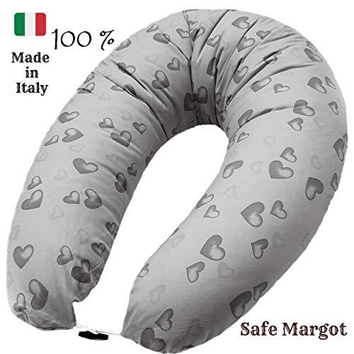 Safe Margot kussen voor zwangerschap, multifunctioneel, met vulling vezels en kussensloop van 100% anti-allergische katoen, anti-verstikking, anti-doorstroming Made in Italy