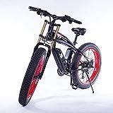 ZXL Incrociatore da Spiaggia da 26 Pollici Fat Bike 350W Bici Elettrica Mountain Bike, Rimovibile 48V 10Ah Agli Ioni Di Litio Rosso Batteria,Rosso