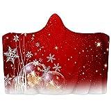 Manta con capucha para llevar de color rojo de Navidad, manta suave para nieve, manta de forro polar coral, poncho cálido y acogedor, manta para niños, adultos, regalo de 51 x 59 pulgadas
