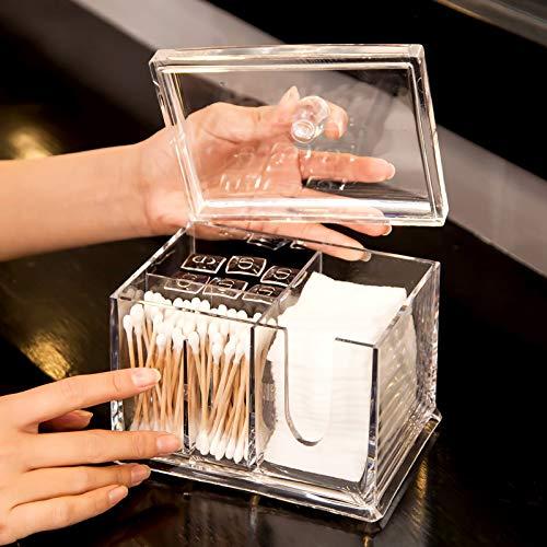 LOVE-STORAGE Boîte De Rangement en Coton Antipoussière Transparent Multifonctionnel De Coton-Tige De Stockage Bijoux BoîTe De Rangement (A) 15 * 10 * 11 * 14cm