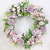 SUREH 15.7inch Artificial Purple Hydrangea and Peony Floral Spring Wreath Silk Peony Wreath with Green Leaves Welcome Front Door Wreath for Wedding Wall Home Decor