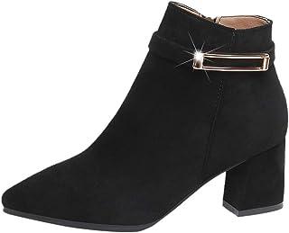 Bottines Femmes,SANFASHION Bottes à Talon Haut Court Boucle Ceinture Zippé Côté Chaussures Boots Cheville Unis Élégant Casual