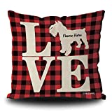 MALIHONG Love Dog Personalized Pillowcase Silhouette Miniature Schnauzer Red Buffalo Plaid Checked Dog Throw Pillow Cover for Sofa Bed Home Decor 18x18 Inch