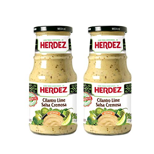 Herdez Authentic Mexican Medium Hot Sauces 15.7 Oz Gluten Free (Cilantro Lime Salsa cremosa, 2 Pack)