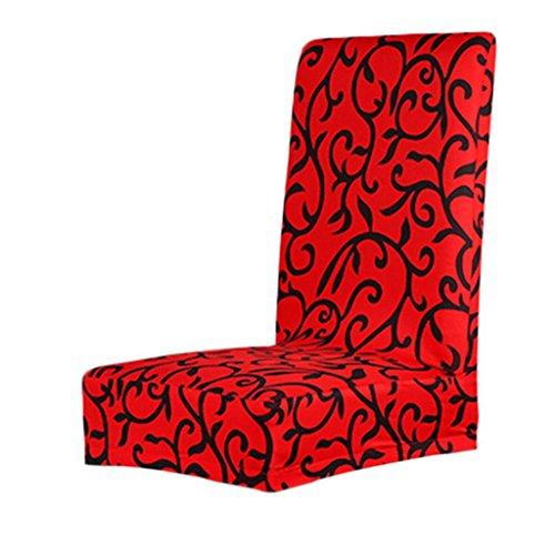 Copertura della sedia Fodere coprisedia per sala da pranzo Elastica Copertura Custodia protettiva staccabile stampato floreale - rosso