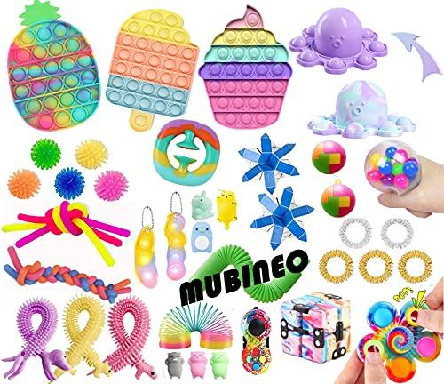 Juego de juguetes sensoriales Fidget Push Bubble Pop Fidget Pack Stress Relief Fidget Toy Autismo Necesidad especial Fidget Stress Reliever Squeeze Toys Set para niños adultos (Fidget Packs B1)