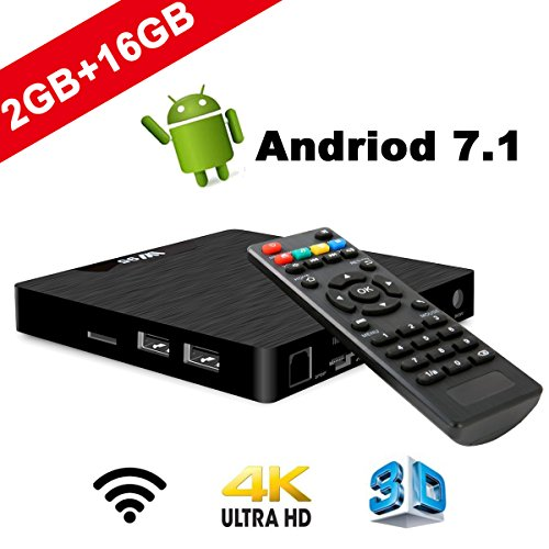SeeKool Android 7.1 Smart TV Box Modelo T Android TV Box con 2GB RAM 16GB ROM, 4K UHD, Amlogic S905W Quad Core 64bit CPU, HDMI & AV Salida, 2 Puerto USB, WiFi LAN Android TV Player