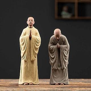 ZLBYB Zen Monk Buddha Statue Decoration Home Decore Garden Figure Tea Pets Ceramic Buddha Statue Tea Pet (Color : C)