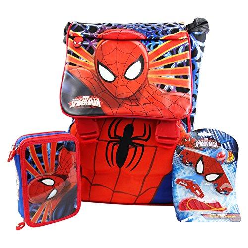 DC Comics Spiderman Freetime Rugzak + Potlood Case 3 Rits + Vliegtuig voor Vrije tijd en School